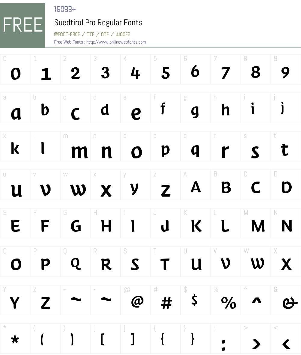 Suedtirol Pro Font Screenshots