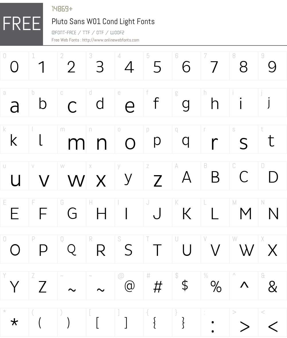 PlutoSansW01-CondLight Font Screenshots