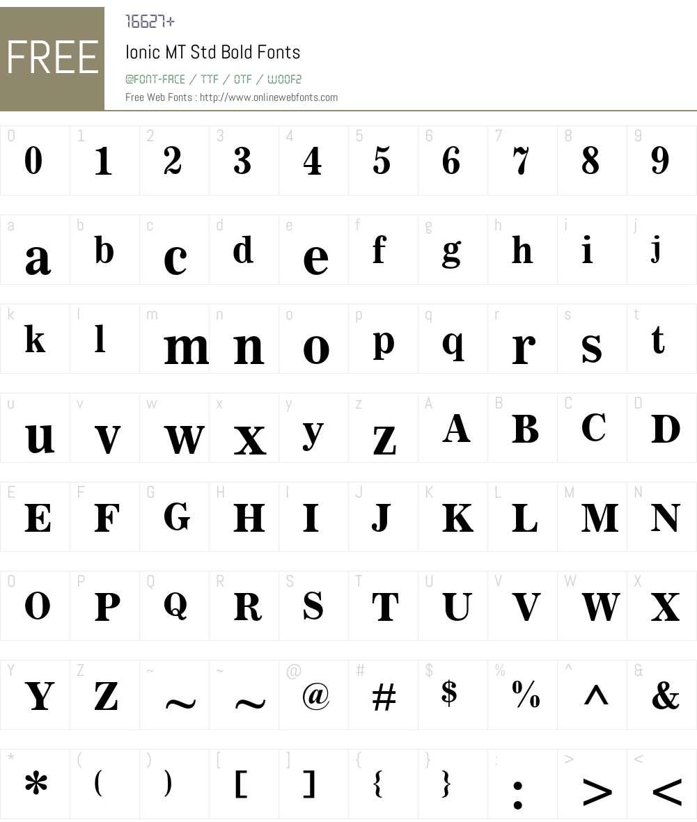 Ionic MT Std Font Screenshots