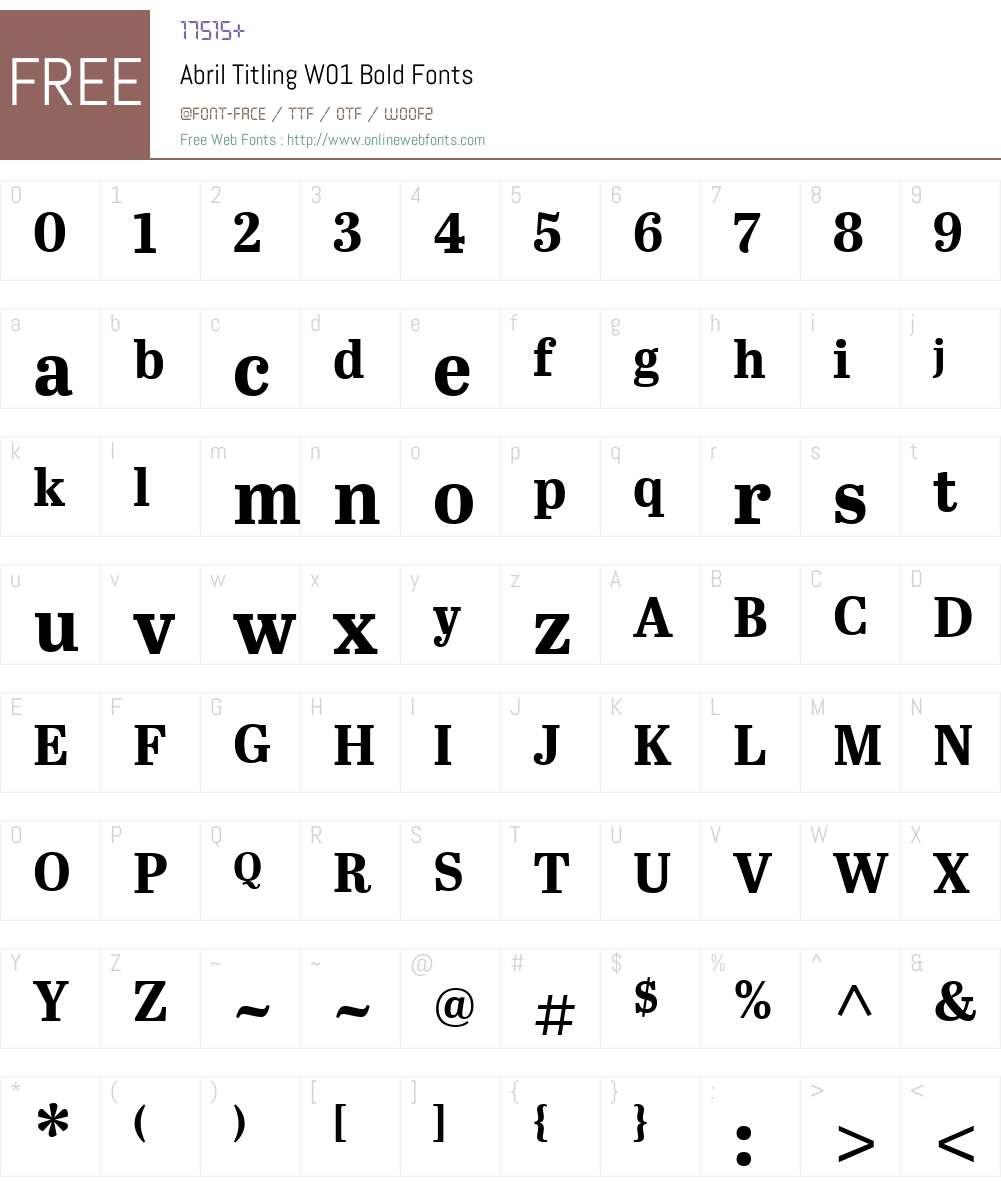 AbrilTitlingW01-Bold Font Screenshots