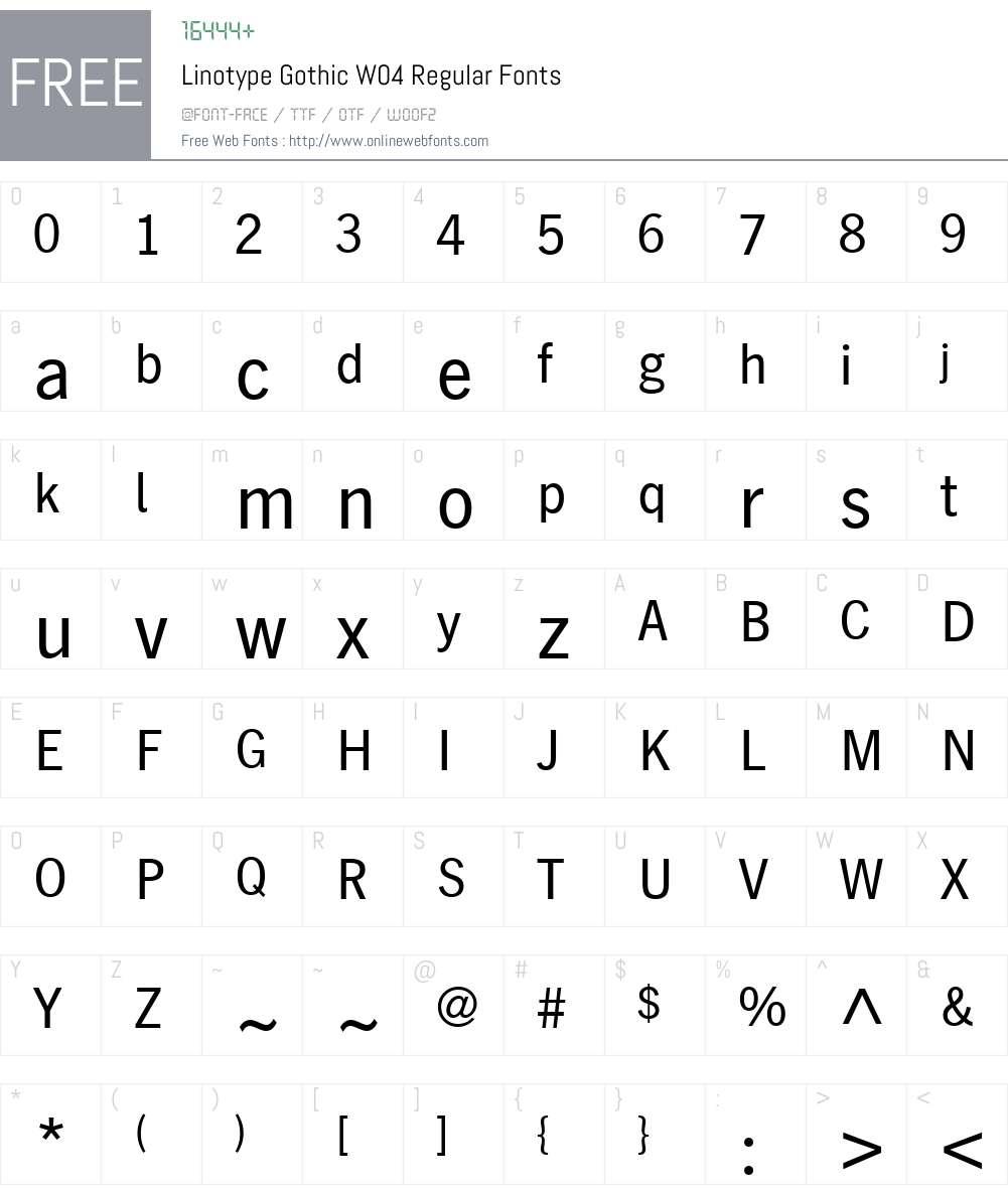Linotype Gothic Font Screenshots