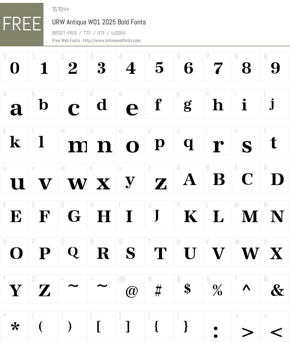 URWAntiquaW01-2025Bold Font Screenshots