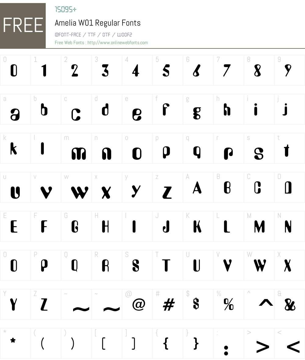 AmeliaW01-Regular Font Screenshots