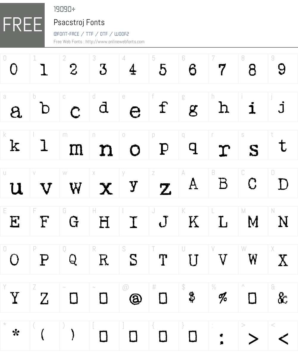 Psacstroj Font Screenshots