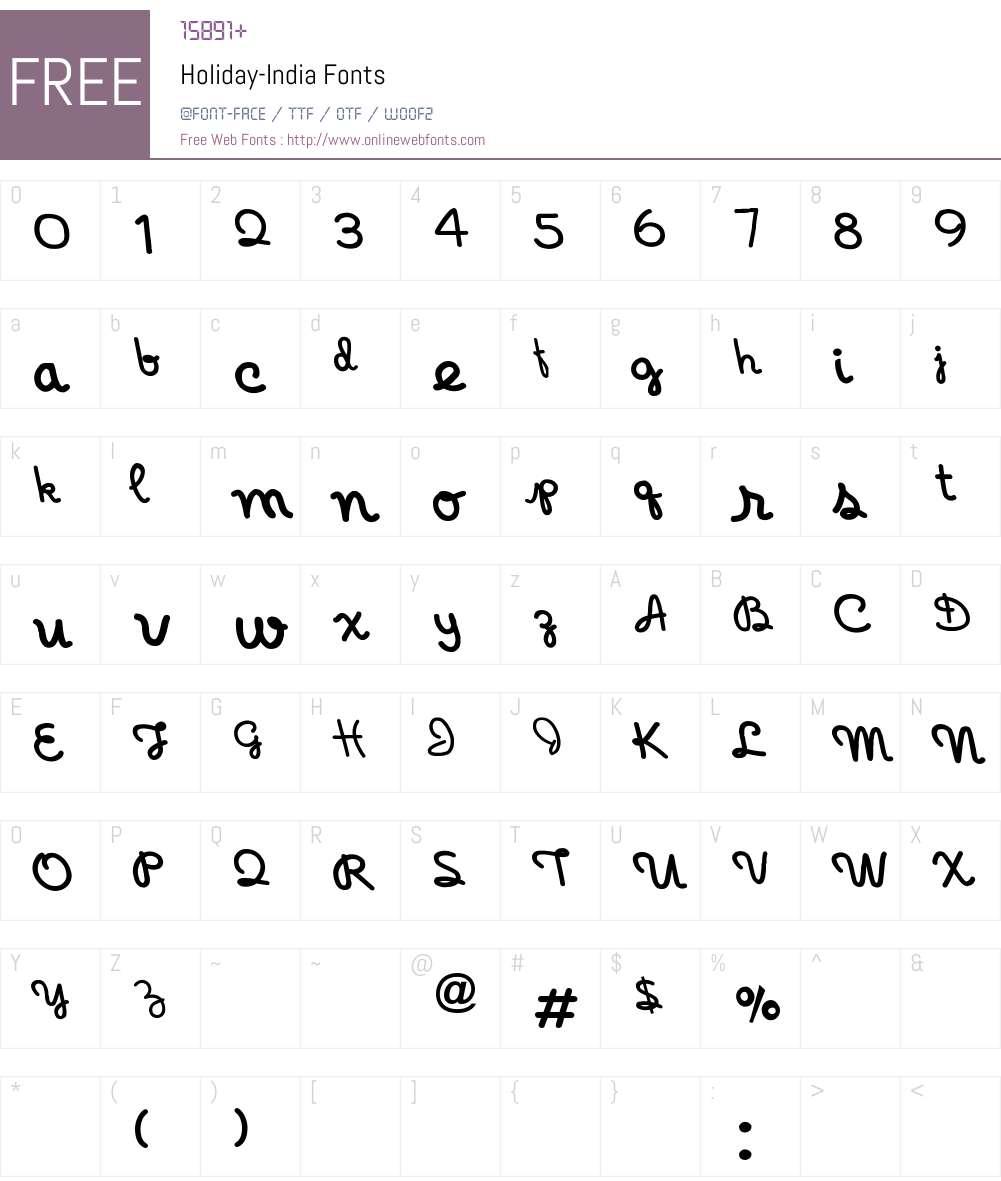 Holiday-India Font Screenshots