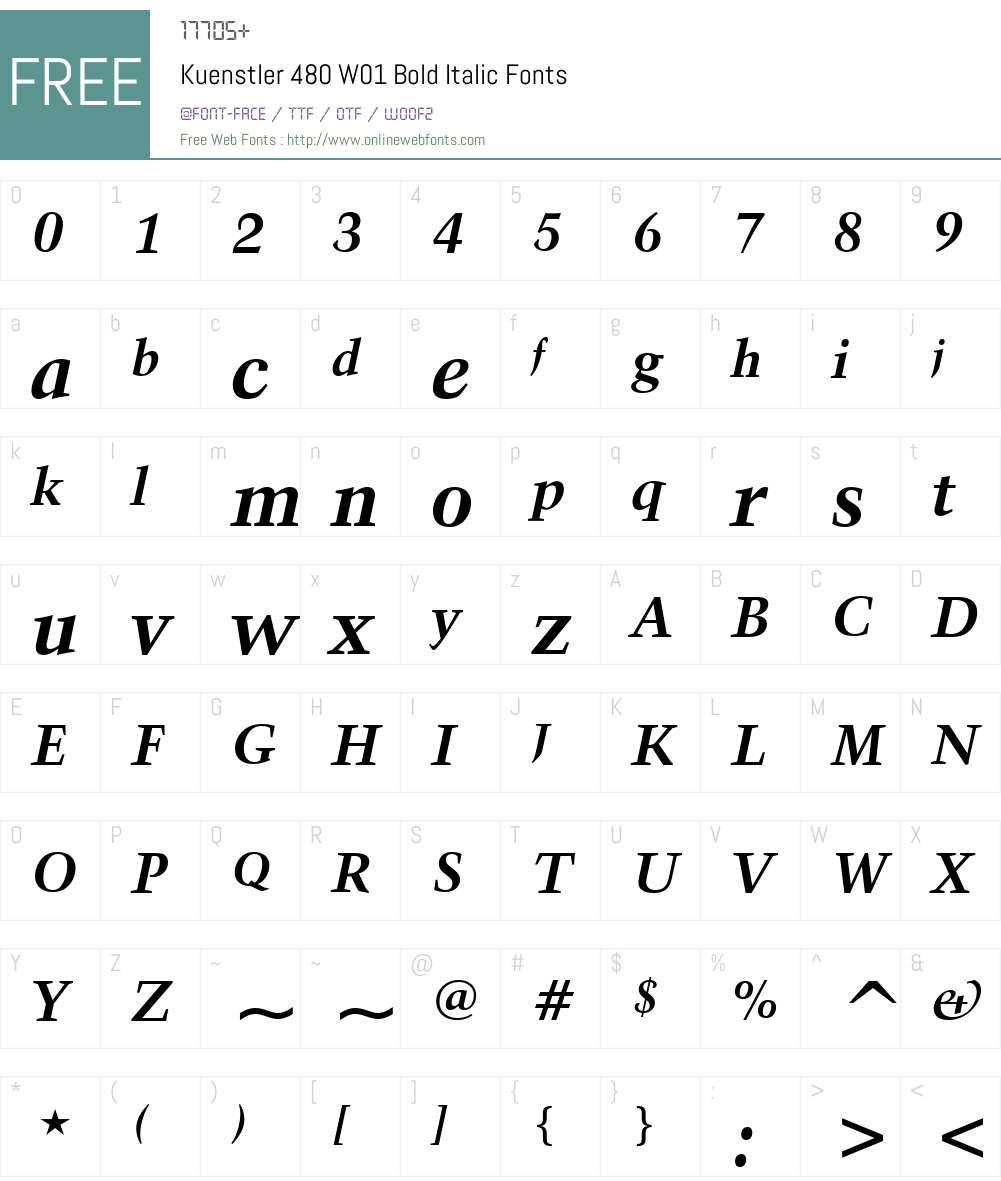 Kuenstler480W01-BoldItalic Font Screenshots