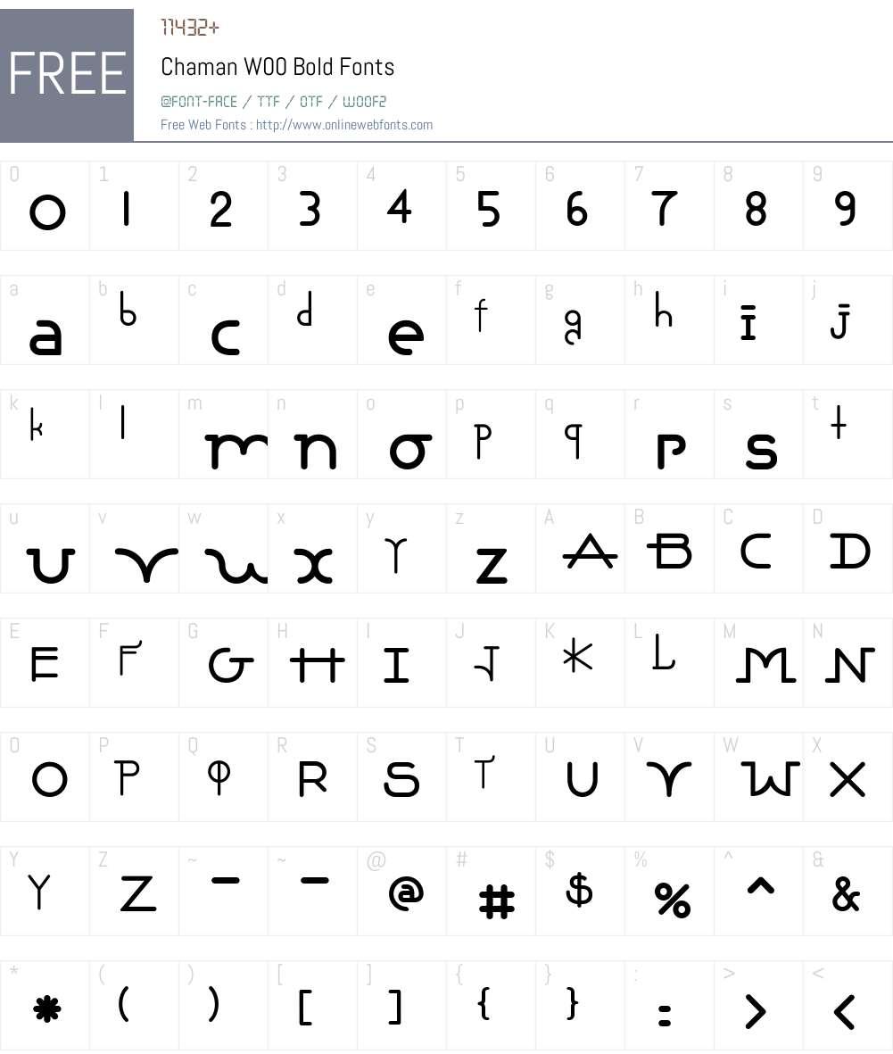 ChamanW00-Bold Font Screenshots