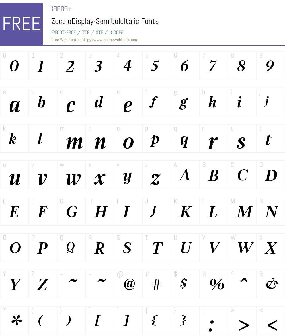ZocaloDisplay SemiboldItalic Font Screenshots