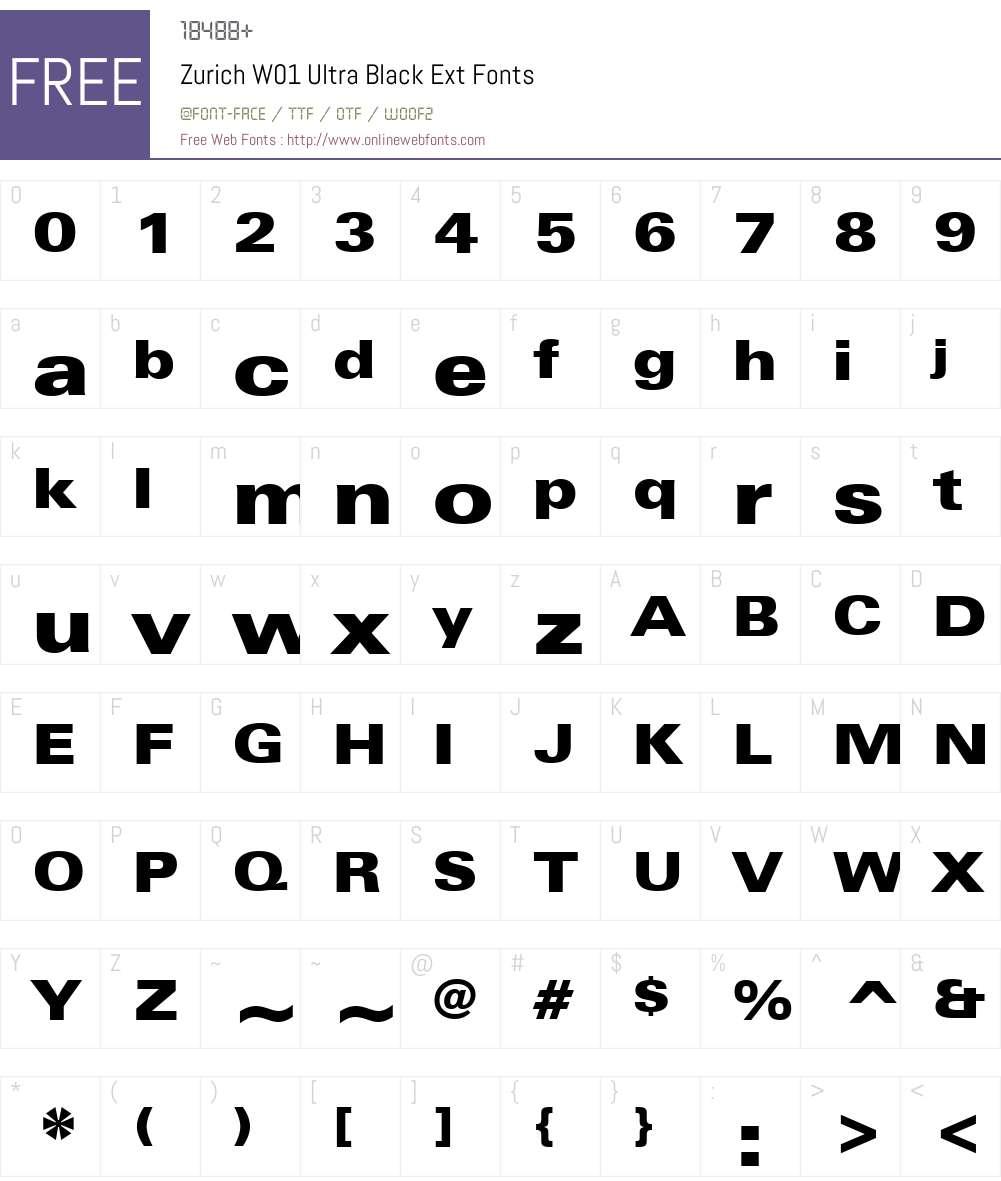 ZurichW01-UltraBlackExt Font Screenshots