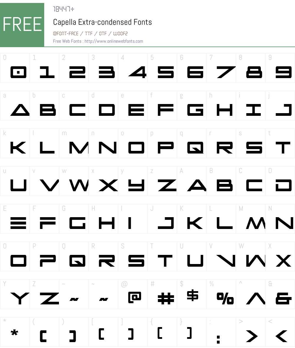 Capella Extra-condensed Font Screenshots