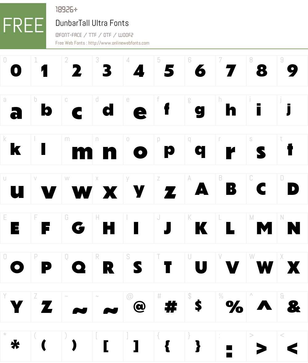 DunbarTall Ultra Font Screenshots
