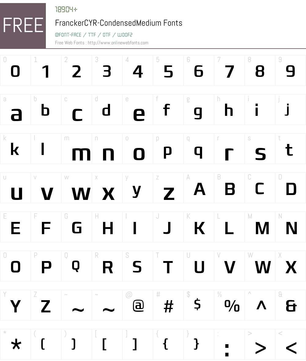 Francker CYR Condensed Medium Font Screenshots