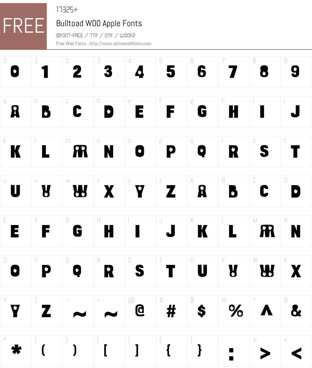 BulltoadW00-Apple Font Screenshots