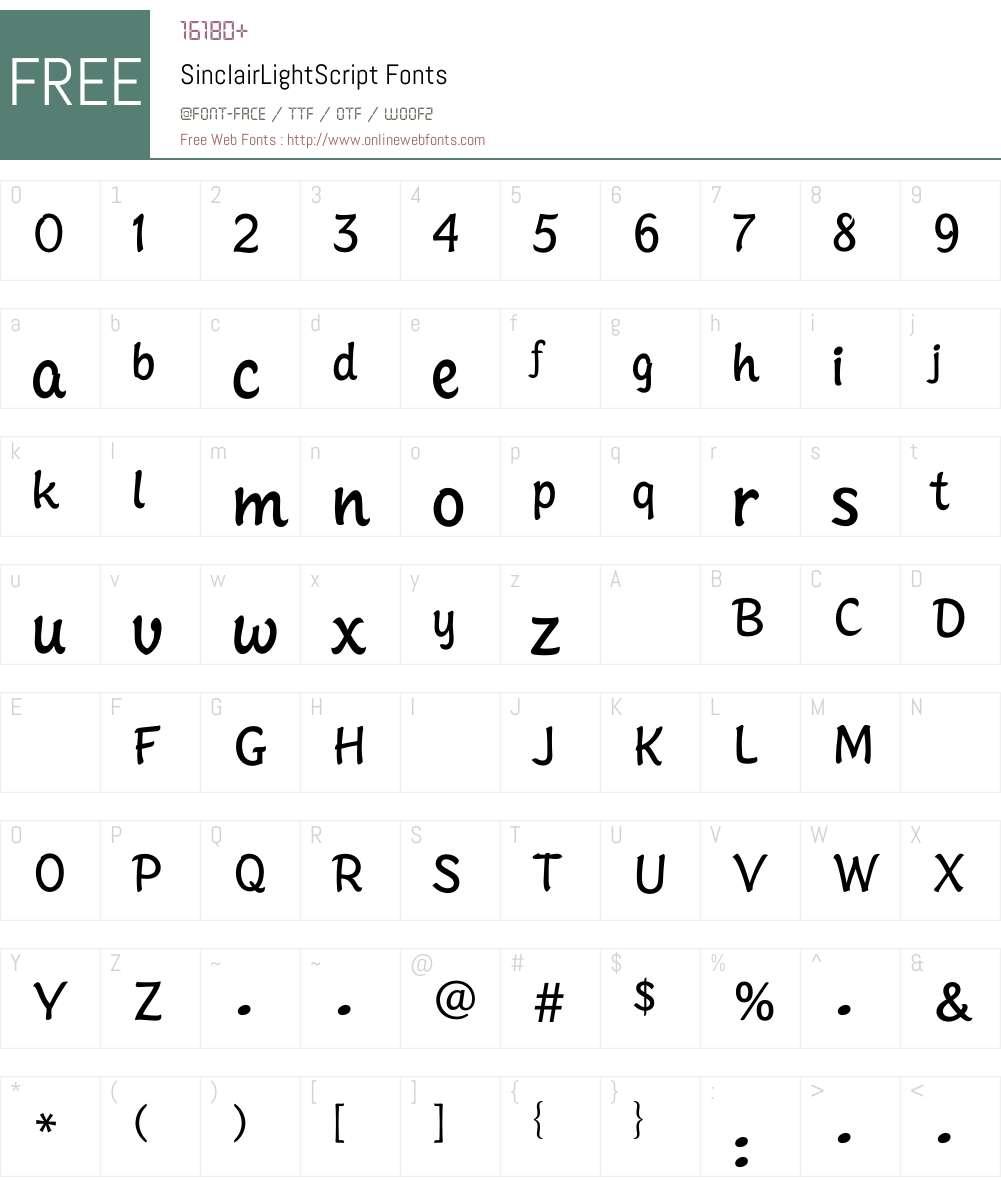 SinclairLightScript Font Screenshots