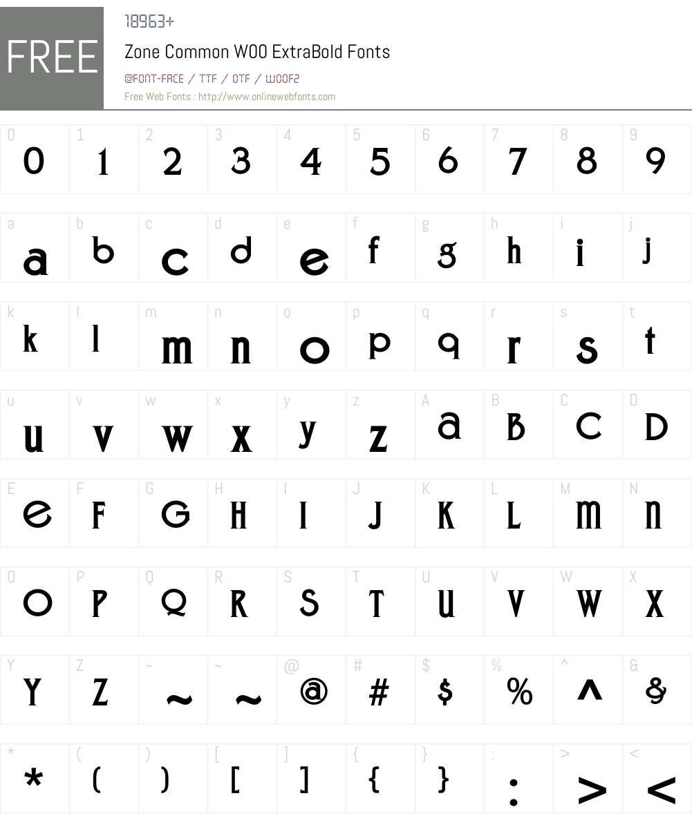 ZoneCommonW00-ExtraBold Font Screenshots