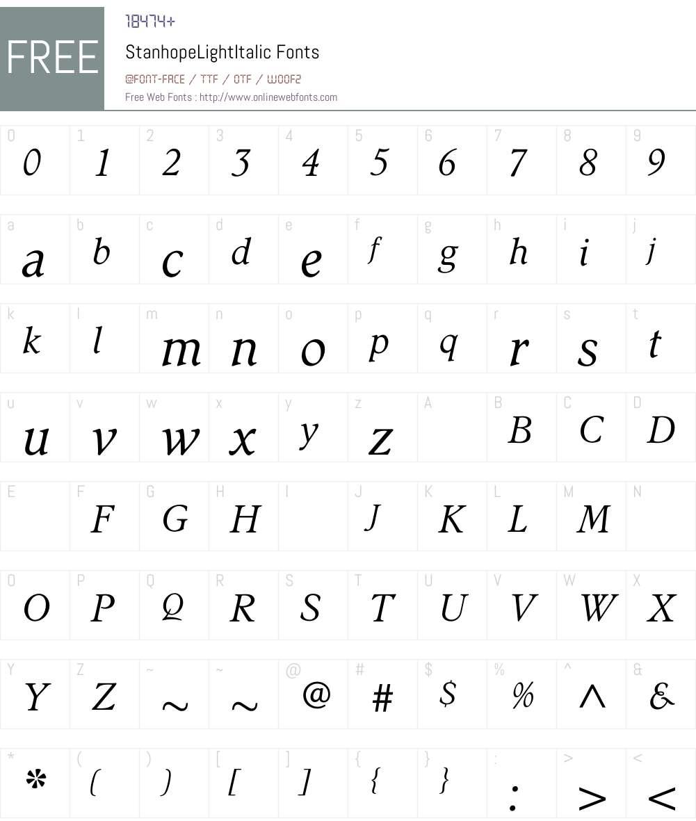 StanhopeLightItalic Font Screenshots