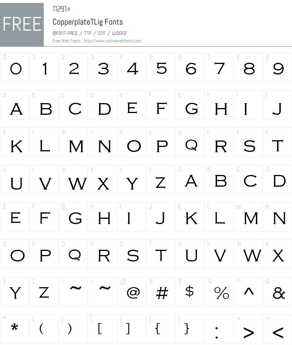 CopperplateTLig Font Screenshots