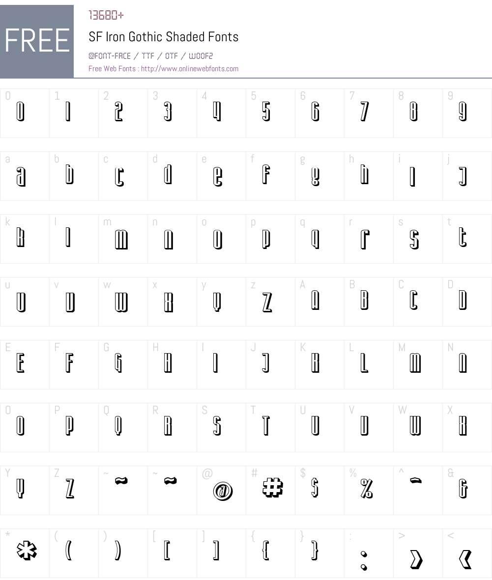 SF Iron Gothic Shaded Font Screenshots