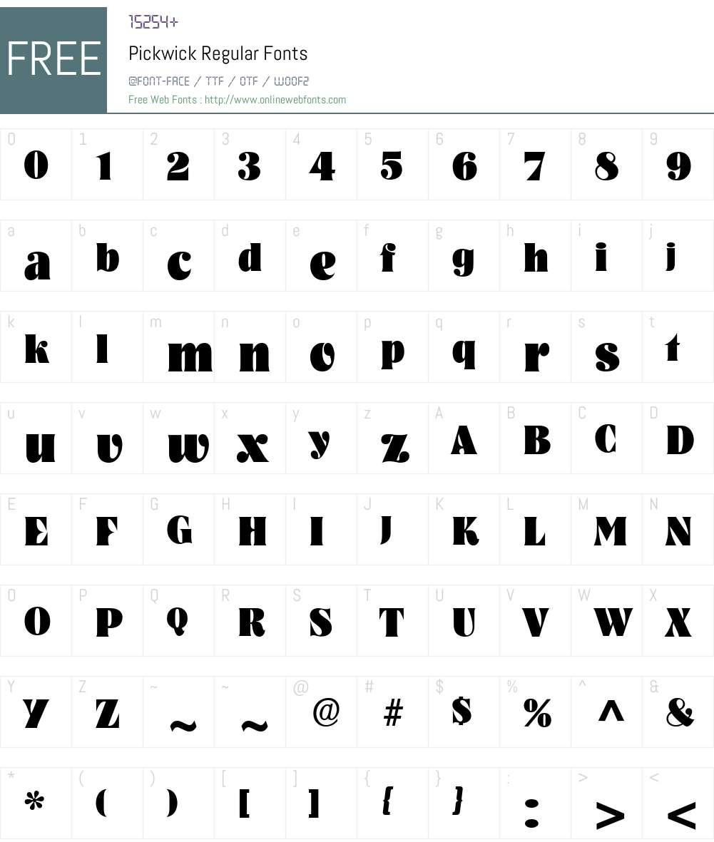 Pickwick Font Screenshots