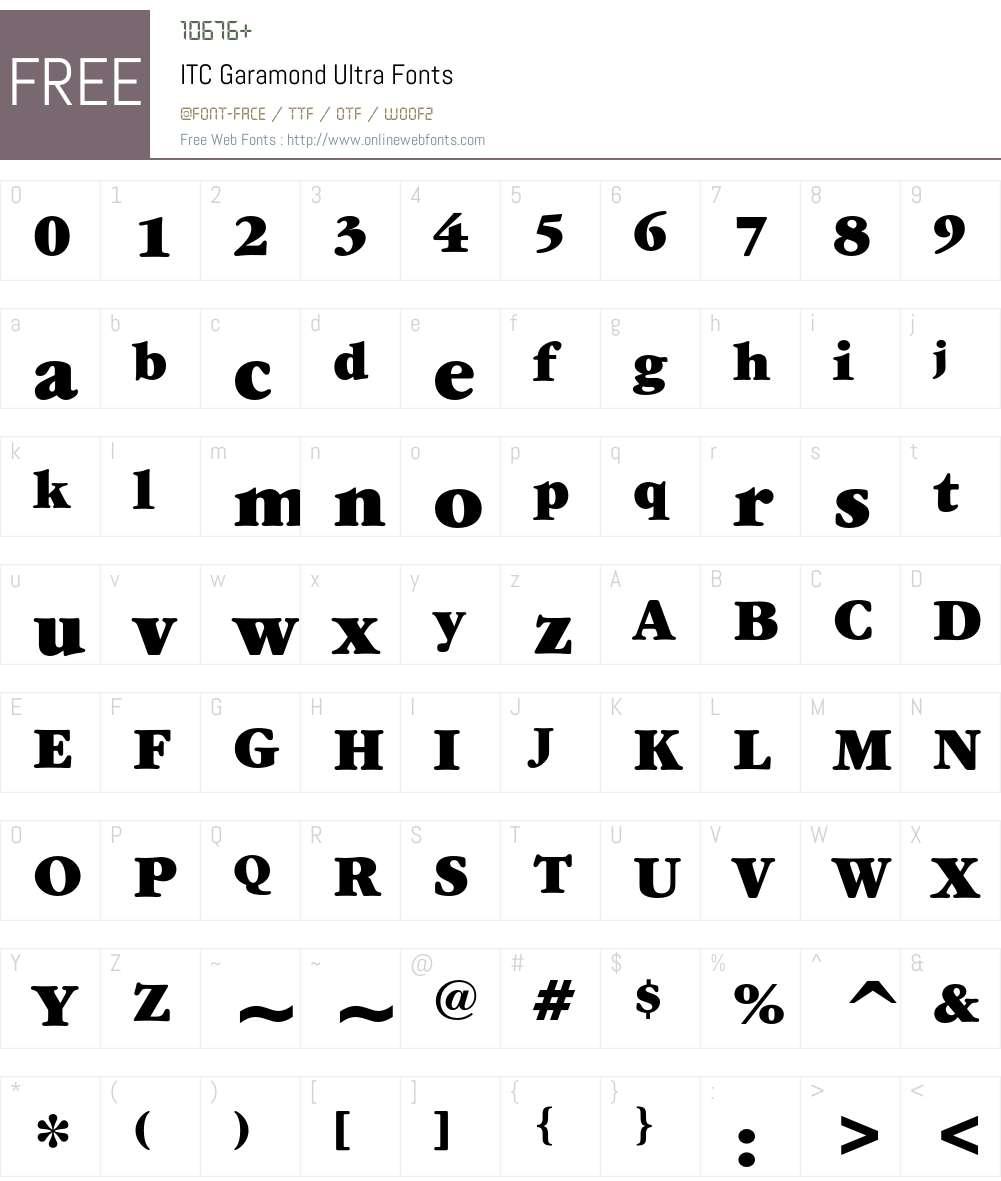 ITC Garamond Font Screenshots