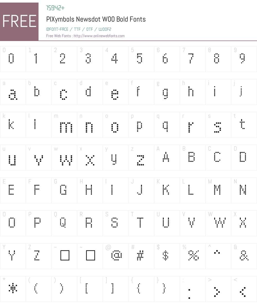 PIXymbolsNewsdotW00-Bold Font Screenshots