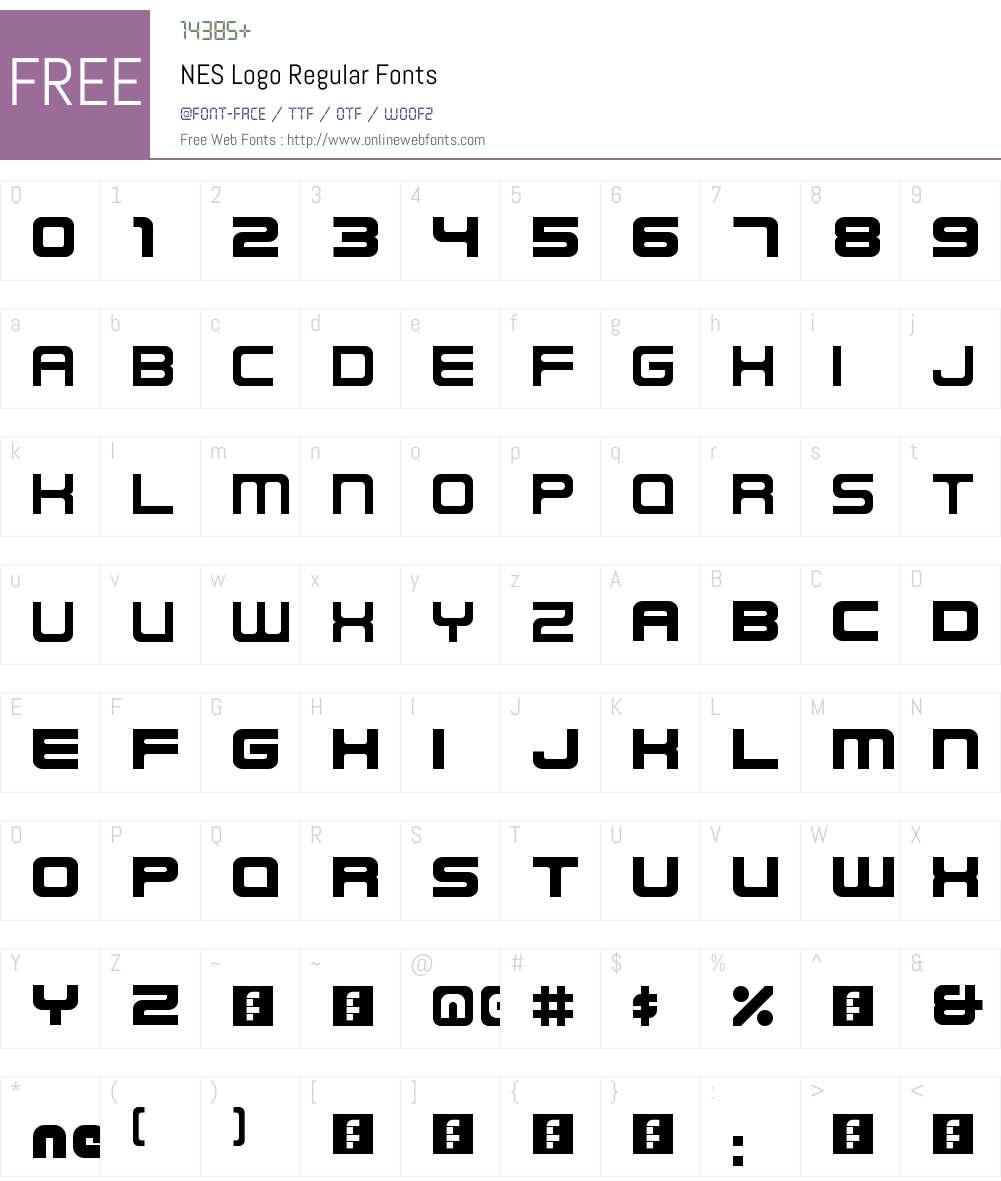 NES Logo Font Screenshots
