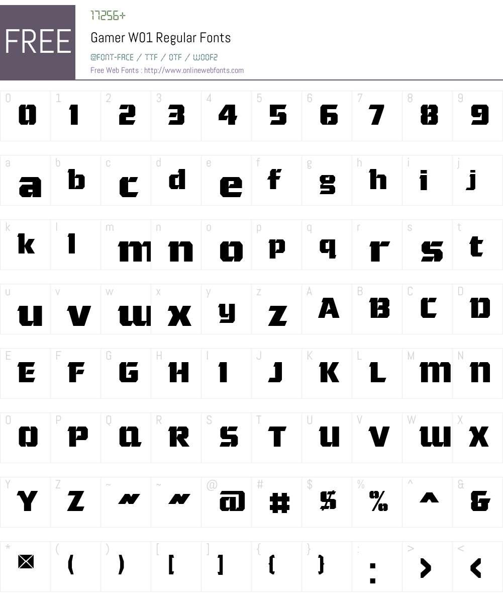GamerW01-Regular Font Screenshots