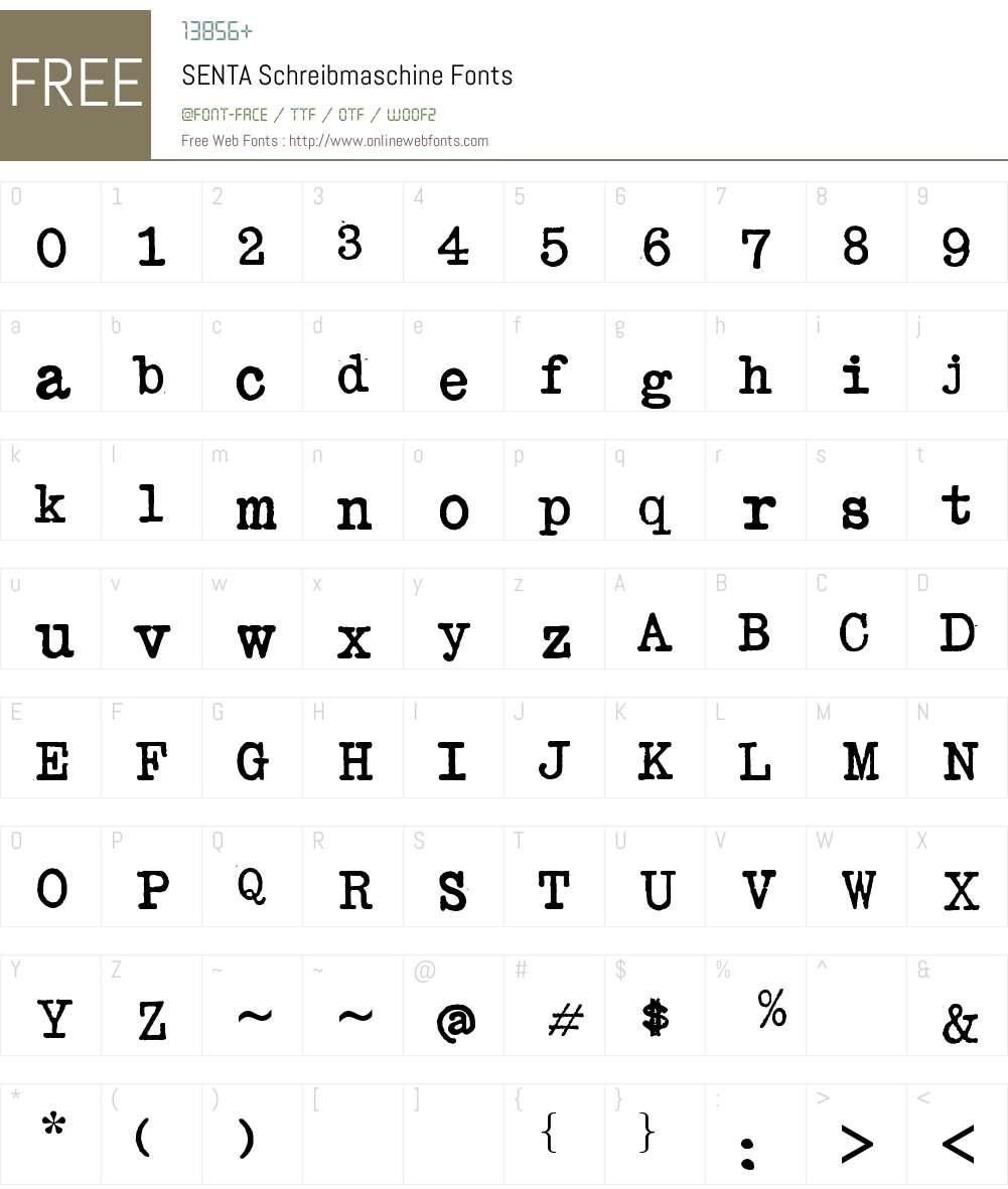 SENTA Schreibmaschine Font Screenshots