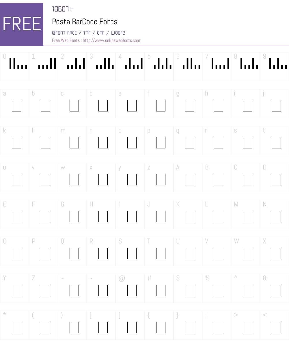 PostalBarCode Font Screenshots