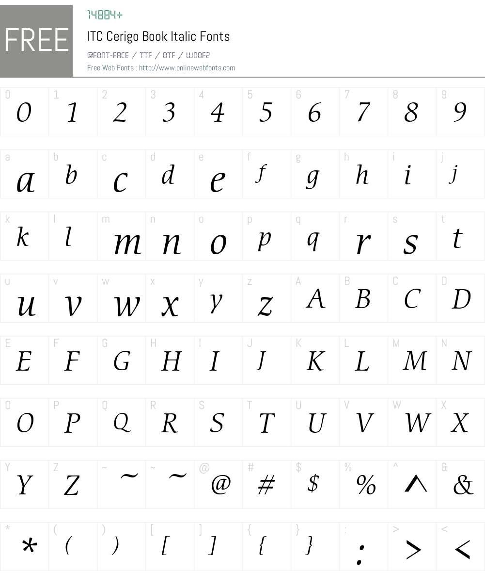 ITC Cerigo Font Screenshots