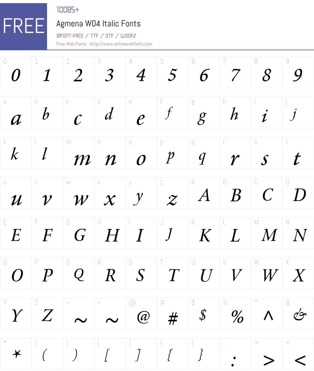 AgmenaW04-Italic Font Screenshots