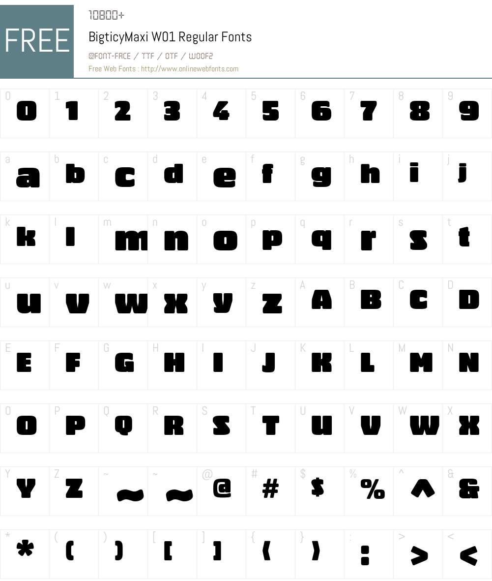 BigticyMaxiW01-Regular Font Screenshots