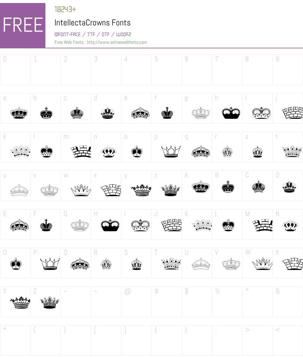IntellectaCrowns Font Screenshots