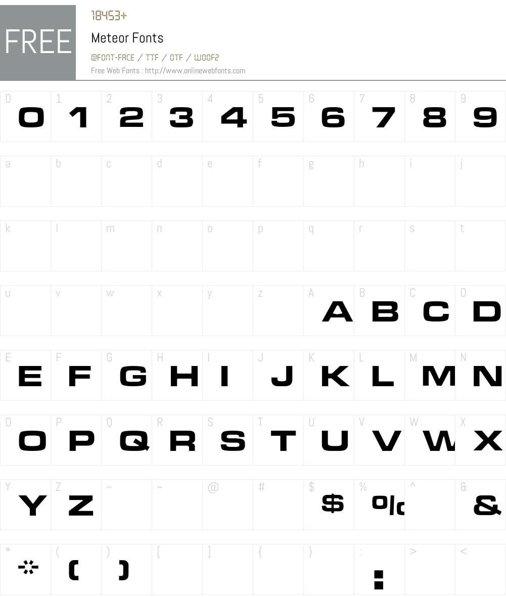 Meteor Font Screenshots