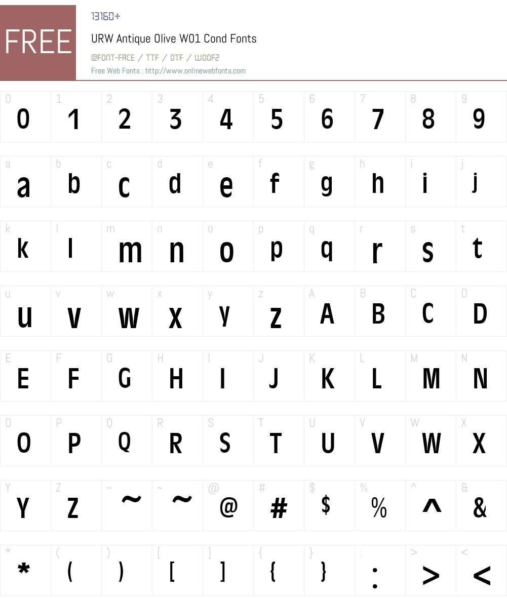 URWAntiqueOliveW01-Cond Font Screenshots