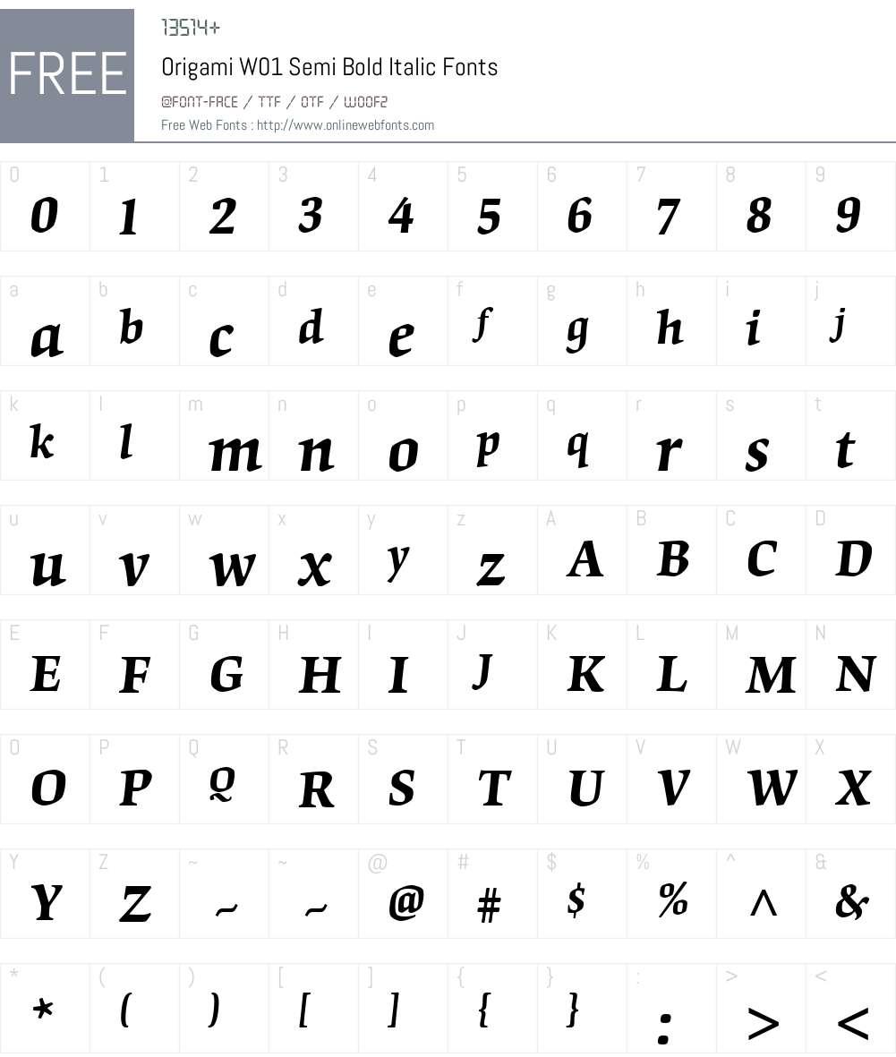 OrigamiW01-SemiBoldItalic Font Screenshots