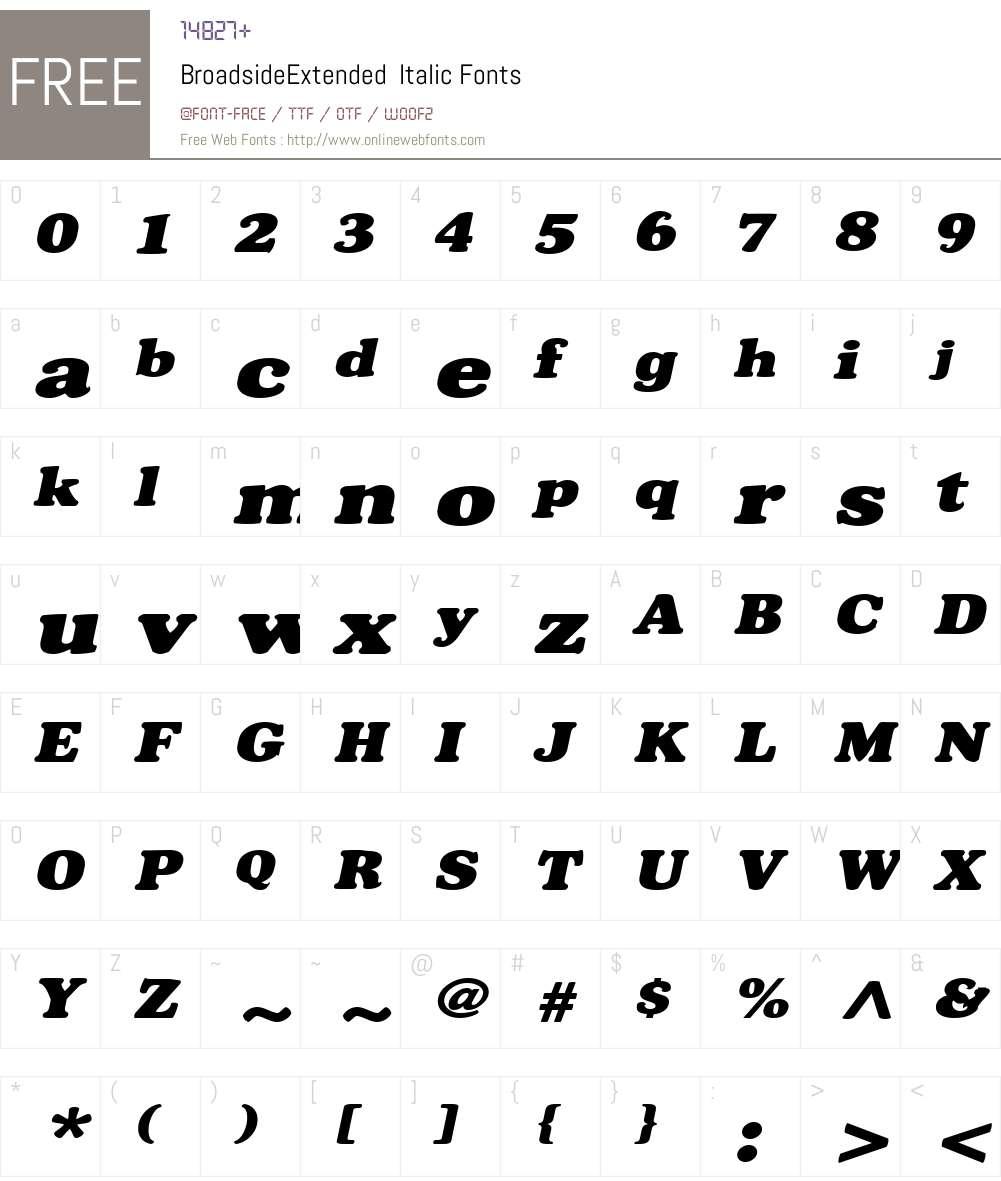 BroadsideExtended Font Screenshots