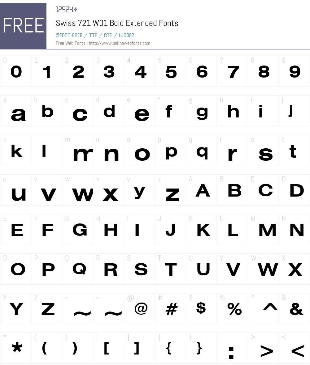 Swiss721W01-BoldExtended Font Screenshots