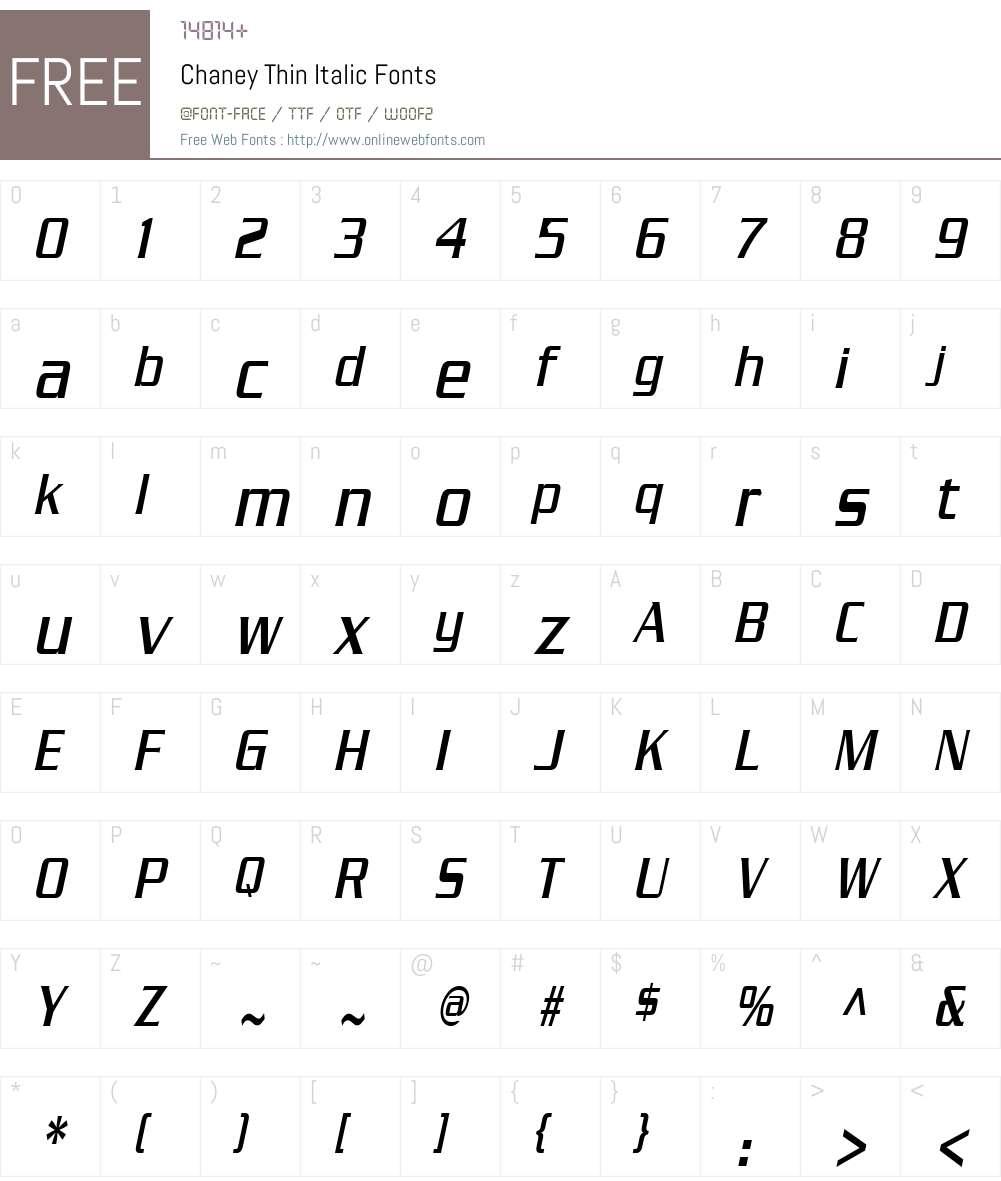 Chaney Thin Font Screenshots
