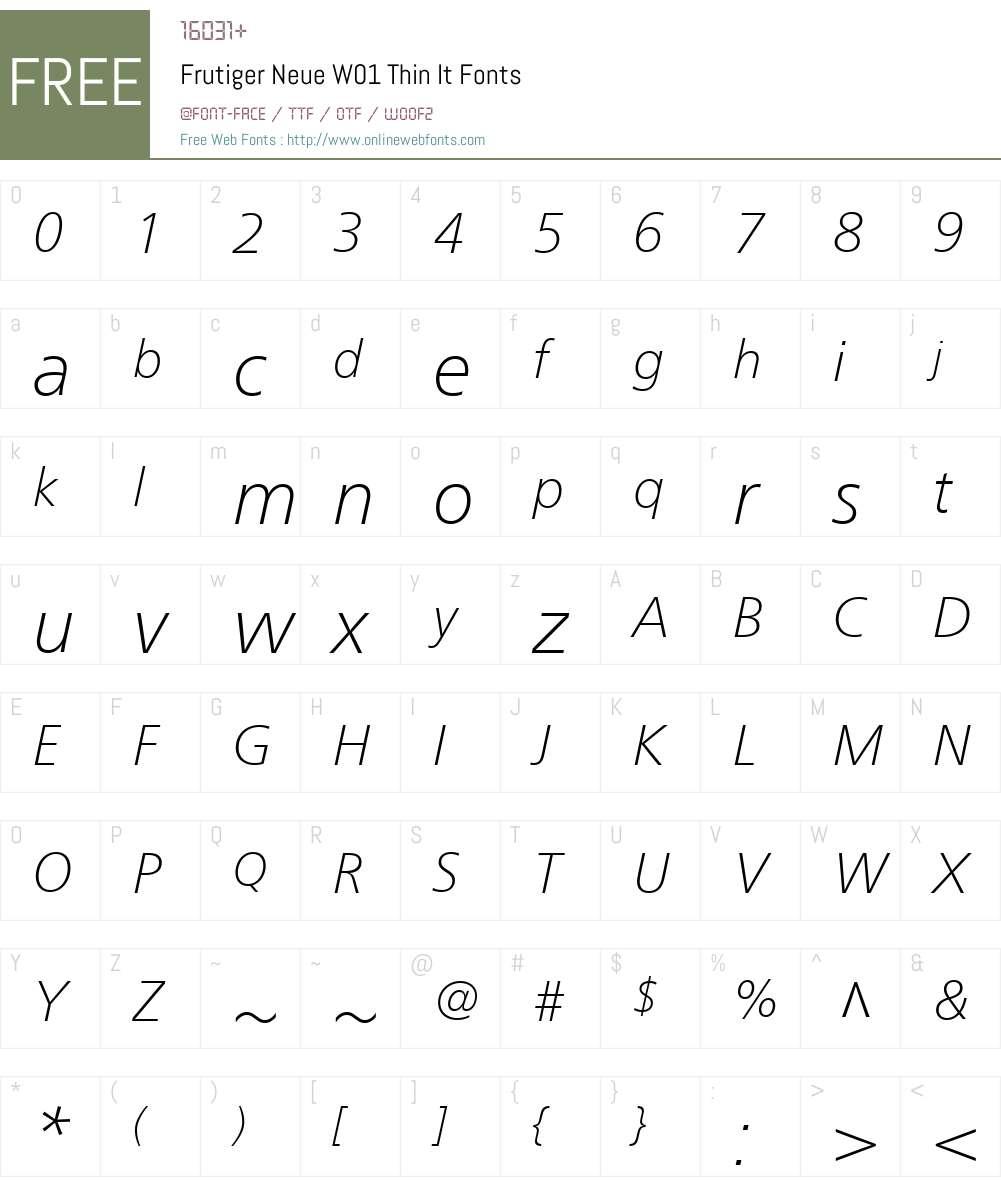 FrutigerNeueW01-ThinIt Font Screenshots
