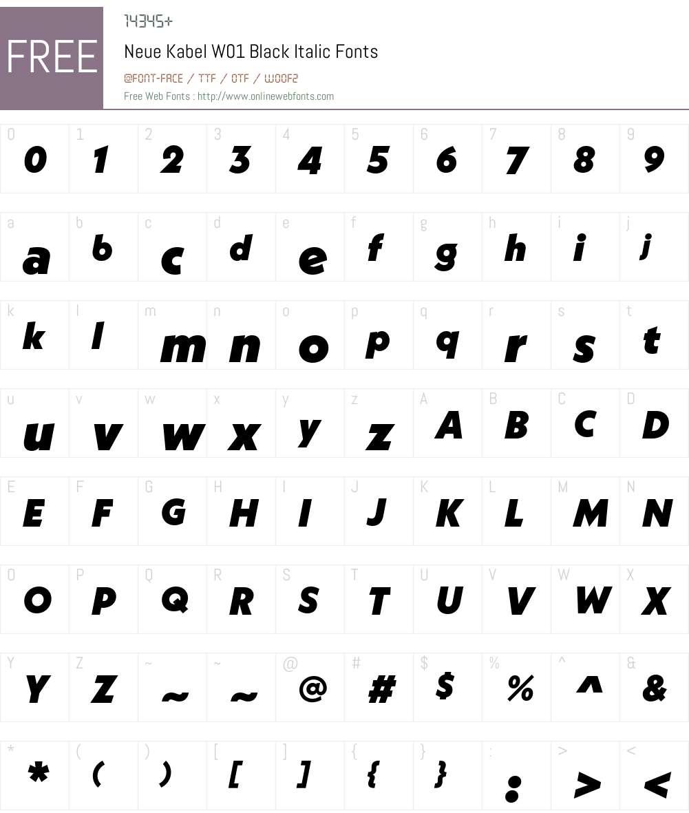 NeueKabelW01-BlackItalic Font Screenshots