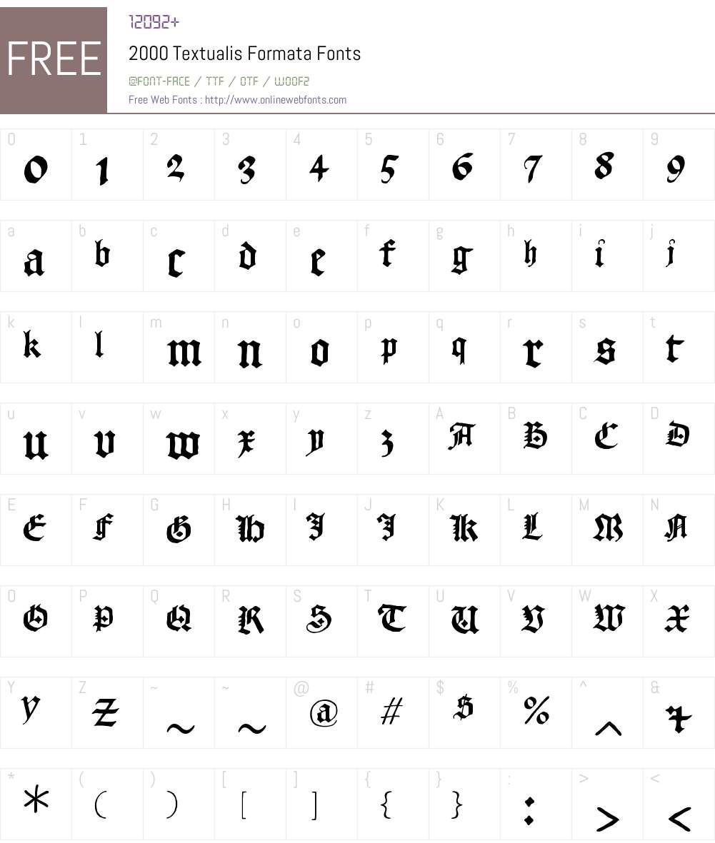 2000 Textualis Formata Font Screenshots