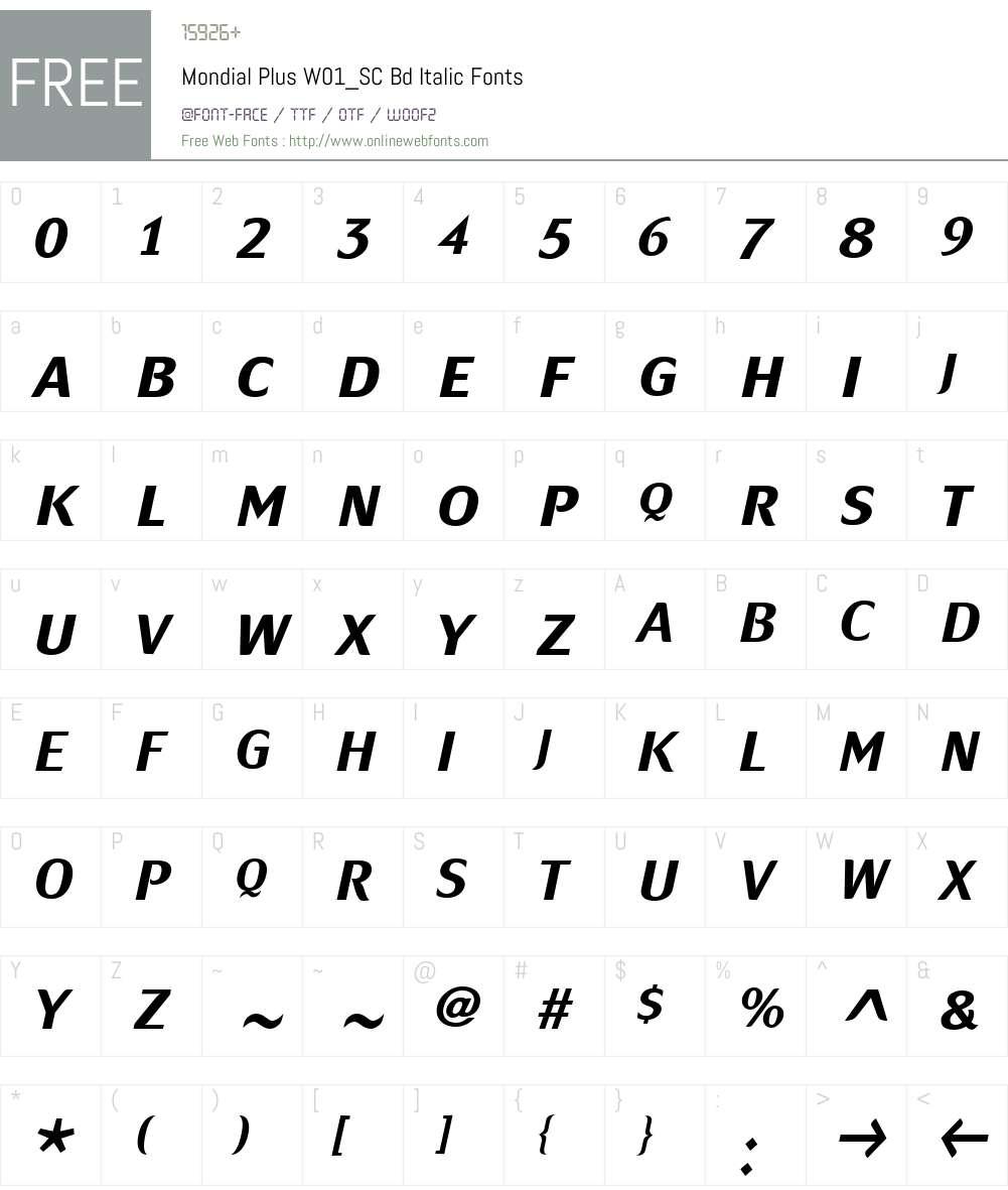 MondialPlusW01_SC-BdItalic Font Screenshots