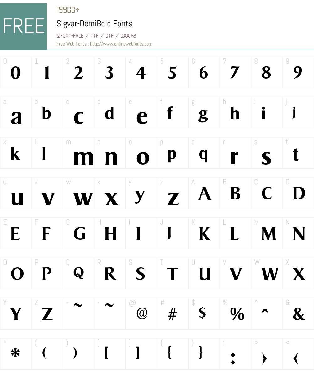 Sigvar-DemiBold Font Screenshots