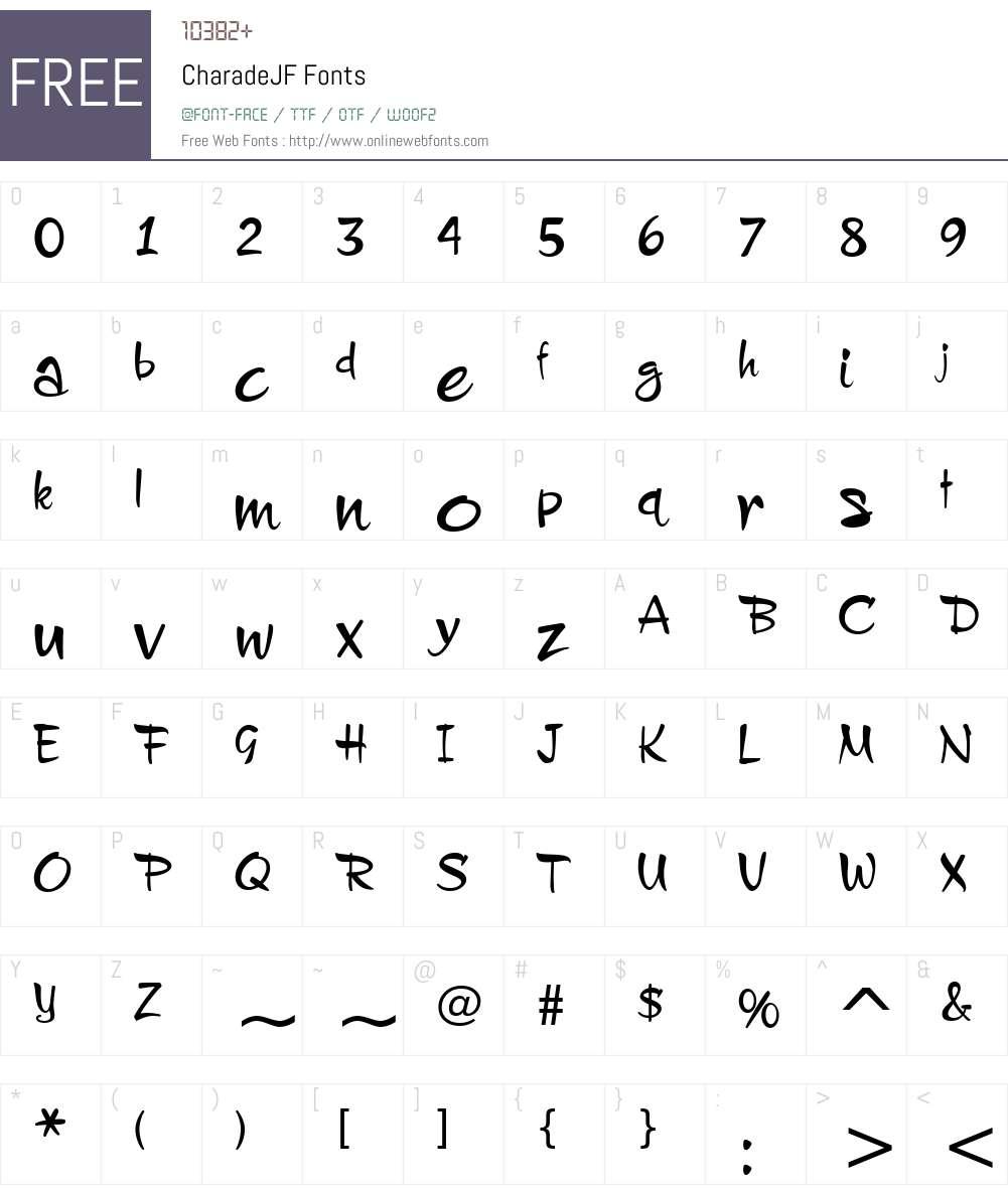 CharadeJF Font Screenshots