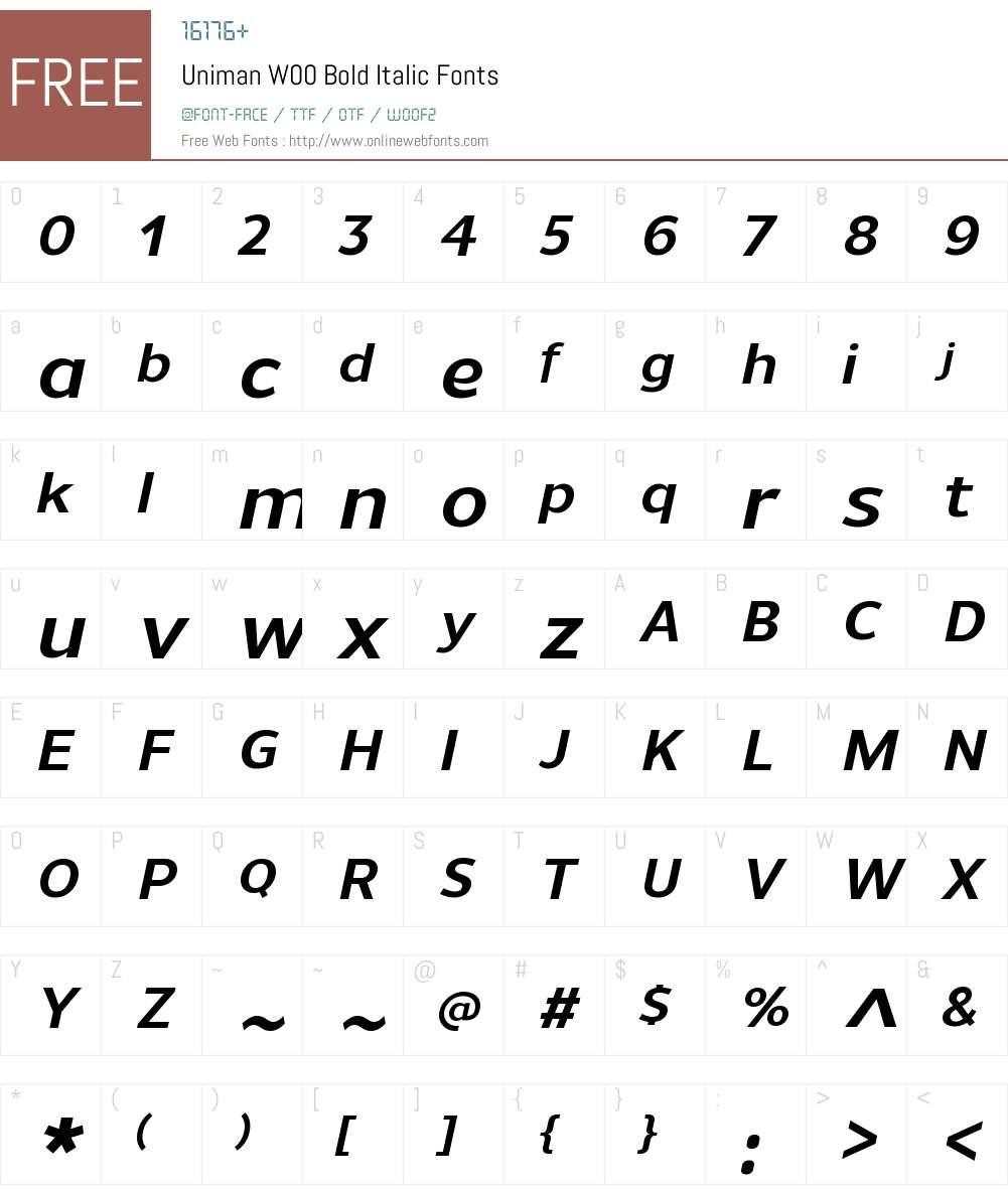 UnimanW00-BoldItalic Font Screenshots