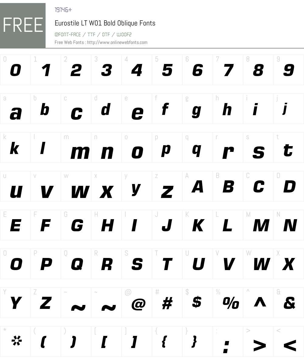 EurostileLTW01-BoldOblique Font Screenshots