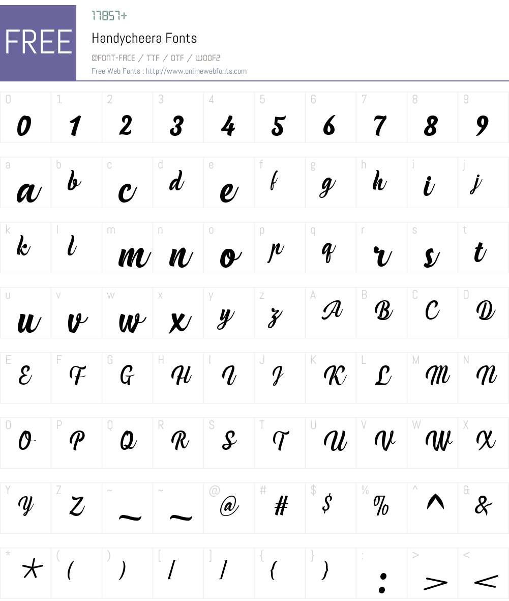 Handycheera Font Screenshots