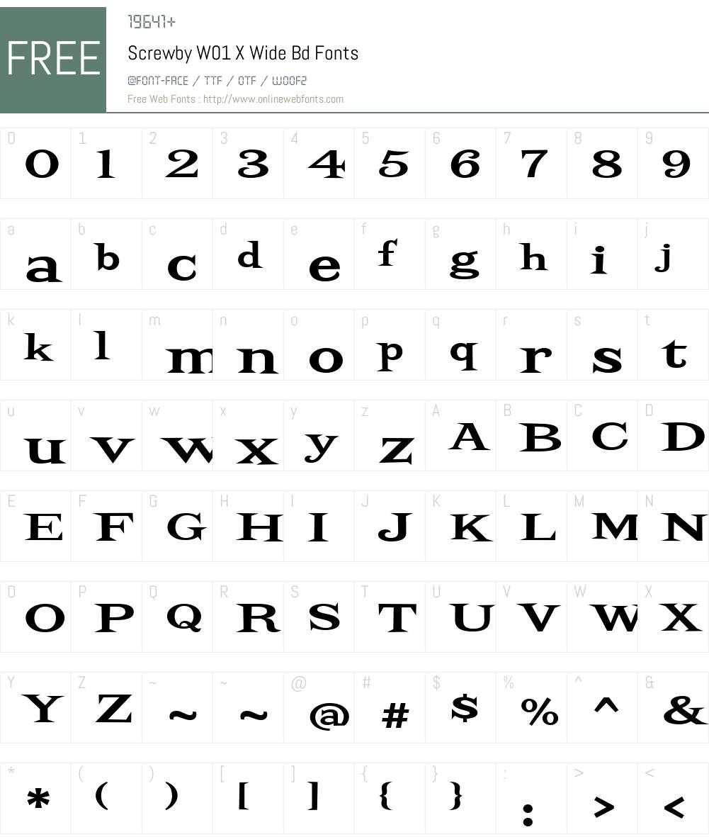 ScrewbyW01-XWideBd Font Screenshots