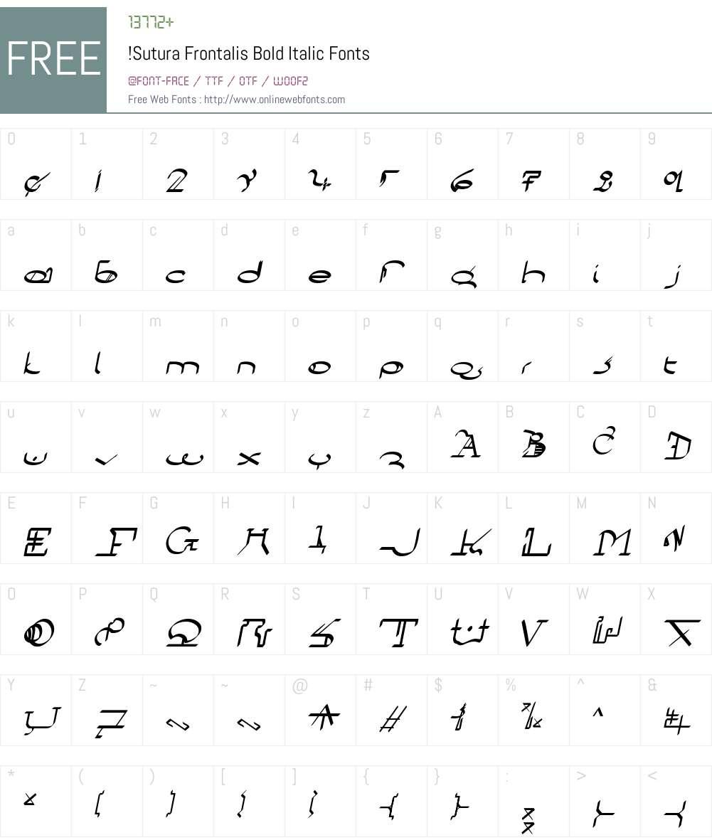 !Sutura Frontalis Font Screenshots